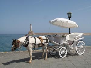 Carruaje de caballos en Chania