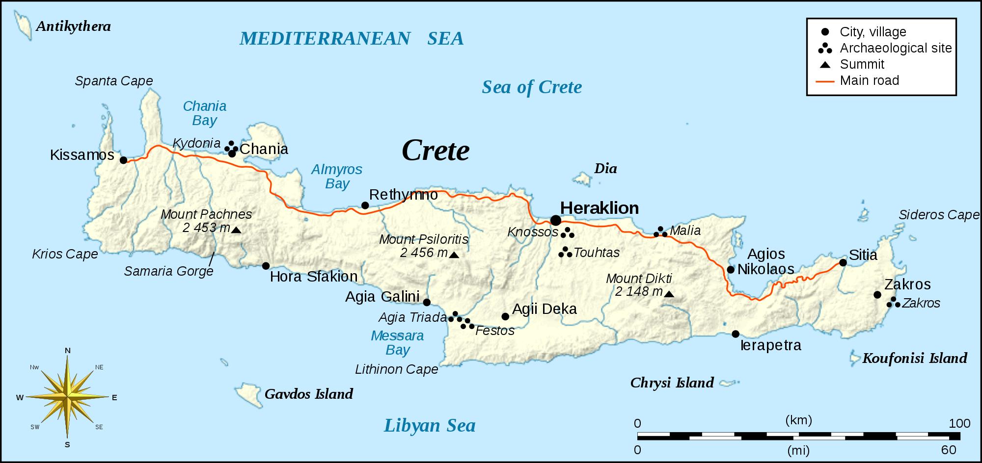 Mapas, planos y callejeros de Creta
