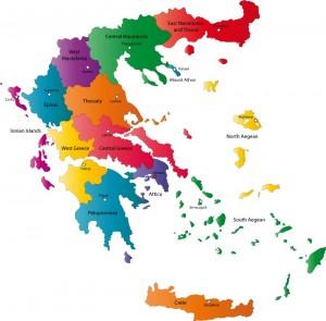 Mapa de las 13 periferias de Grecia