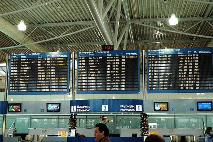 Panel de vuelos Aeropuerto Internacional de Atenas