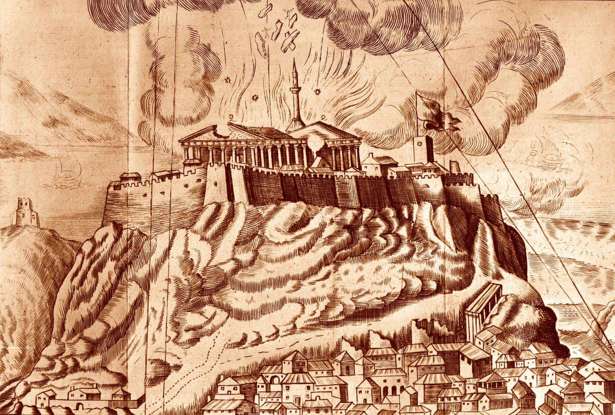 Grabado de la explosión del Partenón en 1687